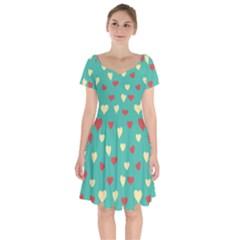 Love Heart Valentine Short Sleeve Bardot Dress