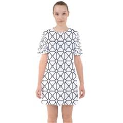 Mesh Pattern Grid Line Sixties Short Sleeve Mini Dress