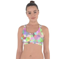 Mosaic Background Cube Pattern Cross String Back Sports Bra by AnjaniArt