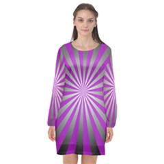 Purple Abstract Background Long Sleeve Chiffon Shift Dress