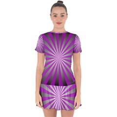 Purple Abstract Background Drop Hem Mini Chiffon Dress