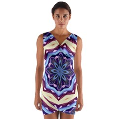 Mandala Wrap Front Bodycon Dress by AnjaniArt