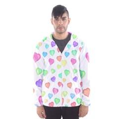 Love Hearts Shapes Hooded Windbreaker (men) by AnjaniArt