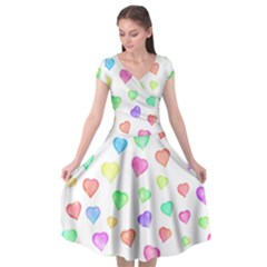 Love Hearts Shapes Cap Sleeve Wrap Front Dress by AnjaniArt