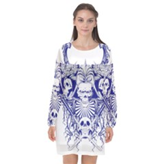 Katana Skull Long Sleeve Chiffon Shift Dress  by Jojostore