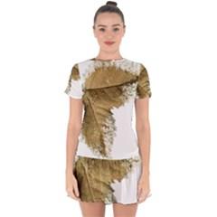 Leaf Edge Drop Hem Mini Chiffon Dress by Jojostore