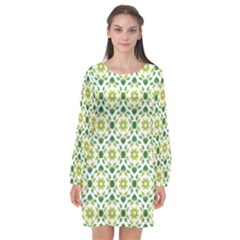 Leaves Floral Flower Flourish Long Sleeve Chiffon Shift Dress  by Jojostore