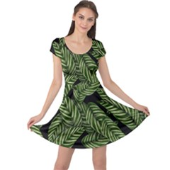 Leaves Black Background Pattern Cap Sleeve Dress by Jojostore