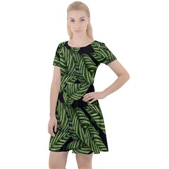 Leaves Black Background Pattern Cap Sleeve Velour Dress  by Jojostore