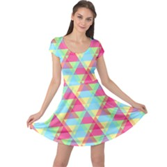 Pattern Bright Triangle Pink Blue Cap Sleeve Dress by Jojostore