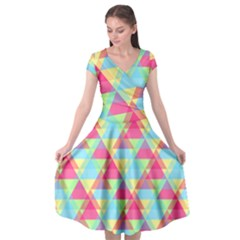 Pattern Bright Triangle Pink Blue Cap Sleeve Wrap Front Dress by Jojostore