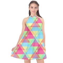Pattern Bright Triangle Pink Blue Halter Neckline Chiffon Dress  by Jojostore