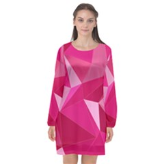 Pattern Halftone Geometric 3d Long Sleeve Chiffon Shift Dress