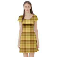 Plaid Seamless Gold Butterscotch Short Sleeve Skater Dress