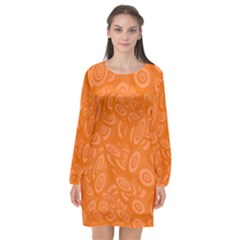 Orange Ellipse Wallpaper Pattern Long Sleeve Chiffon Shift Dress