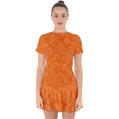 Orange Ellipse Wallpaper Pattern Drop Hem Mini Chiffon Dress