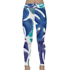 Leaves Tropical Blue Green Nature Classic Yoga Leggings by Alisyart