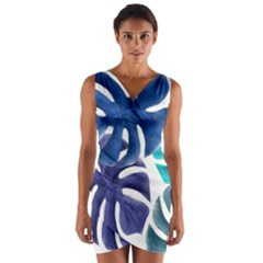 Leaves Tropical Blue Green Nature Wrap Front Bodycon Dress