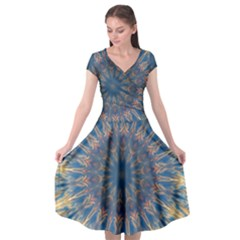 Kaleidoscope Mandala Cap Sleeve Wrap Front Dress