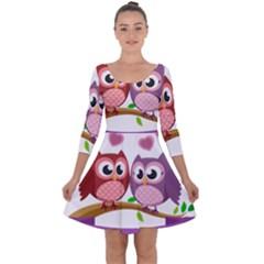 Owl Cartoon Bird Quarter Sleeve Skater Dress by Alisyart