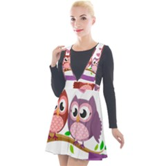 Owl Cartoon Bird Plunge Pinafore Velour Dress by Alisyart