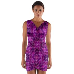 Purple Triangle Pattern Wrap Front Bodycon Dress