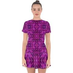 Purple Triangle Pattern Drop Hem Mini Chiffon Dress