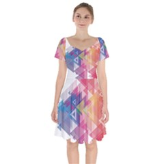 Science And Technology Triangle Short Sleeve Bardot Dress