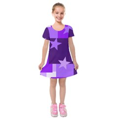 Purple Stars Pattern Shape Kids  Short Sleeve Velvet Dress