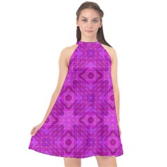 Magenta Mosaic Pattern Triangle Halter Neckline Chiffon Dress
