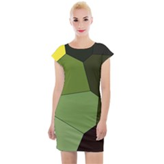 Mosaic Structure Background Tile Cap Sleeve Bodycon Dress by Pakrebo