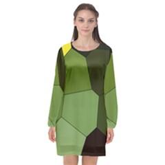 Mosaic Structure Background Tile Long Sleeve Chiffon Shift Dress
