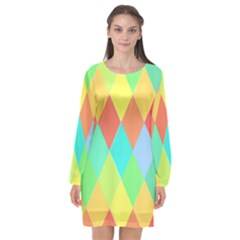Low Poly Triangles Long Sleeve Chiffon Shift Dress