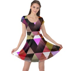 Abstract Geometric Triangles Shapes Cap Sleeve Dress