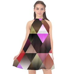 Abstract Geometric Triangles Shapes Halter Neckline Chiffon Dress