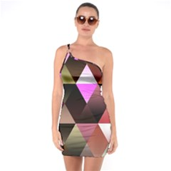 Abstract Geometric Triangles Shapes One Soulder Bodycon Dress by Pakrebo