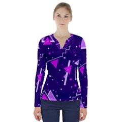 Purple Blue Geometric Pattern V Neck Long Sleeve Top by Pakrebo