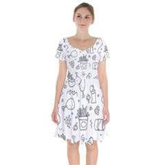 Set Chalk Out Scribble Collection Short Sleeve Bardot Dress