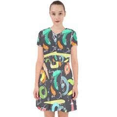 Repetition Seamless Child Sketch Adorable In Chiffon Dress by Pakrebo