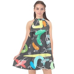 Repetition Seamless Child Sketch Halter Neckline Chiffon Dress