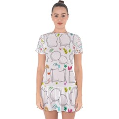 Set Chalk Out Chitchat Scribble Drop Hem Mini Chiffon Dress by Pakrebo
