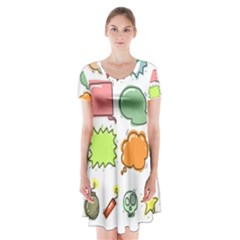 Set Collection Balloon Image Short Sleeve V Neck Flare Dress by Pakrebo