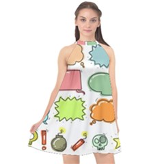 Set Collection Balloon Image Halter Neckline Chiffon Dress