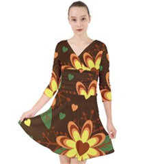 Floral Hearts Brown Green Retro Quarter Sleeve Front Wrap Dress