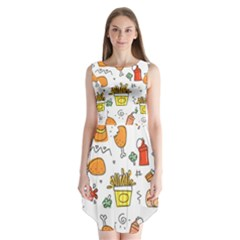 Cute Sketch Set Child Fun Funny Sleeveless Chiffon Dress   by Pakrebo
