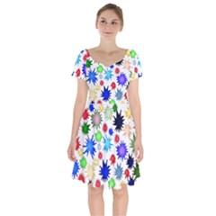 Inks Drops Black Colorful Paint Short Sleeve Bardot Dress