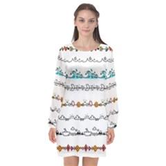 Decoration Element Style Pattern Long Sleeve Chiffon Shift Dress