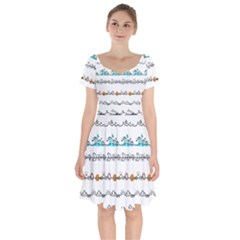 Decoration Element Style Pattern Short Sleeve Bardot Dress