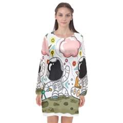 Sketch Cute Child Funny Long Sleeve Chiffon Shift Dress