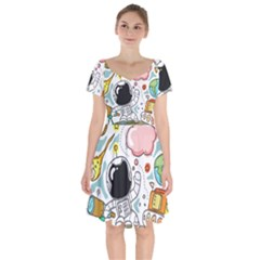 Sketch Cute Child Funny Short Sleeve Bardot Dress